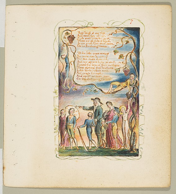 Songs of Innocence and of Experience: The Ecchoing Green (second plate), William Blake (British, London 1757–1827 London), Relief etching printed in orange-brown ink and hand-colored with watercolor and gold