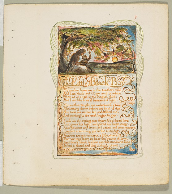 Songs of Innocence and of Experience: The Little Black Boy, William Blake (British, London 1757–1827 London), Relief etching printed in orange-brown ink and hand-colored with watercolor and gold