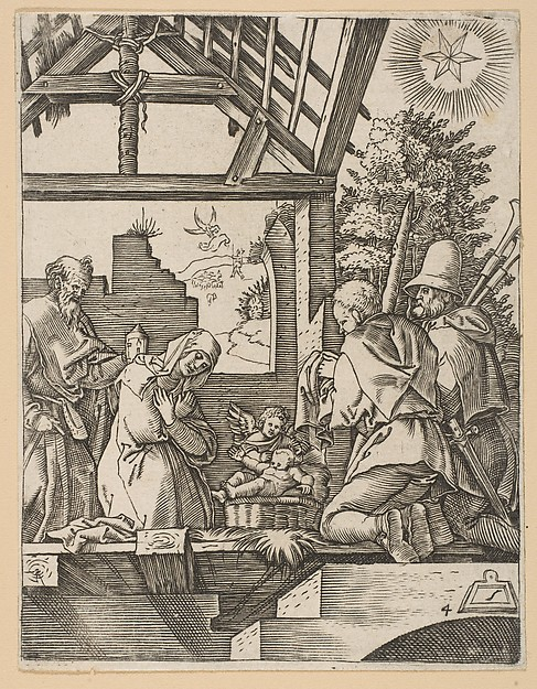 The Nativity (copy), Marcantonio Raimondi (Italian, Argini (?) ca. 1480–before 1534 Bologna (?)), Woodcut