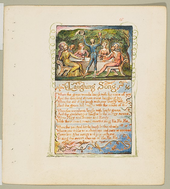 Songs of Innocence and of Experience: Laughing Song, William Blake (British, London 1757–1827 London), Relief etching printed in orange-brown ink and hand-colored with watercolor and gold