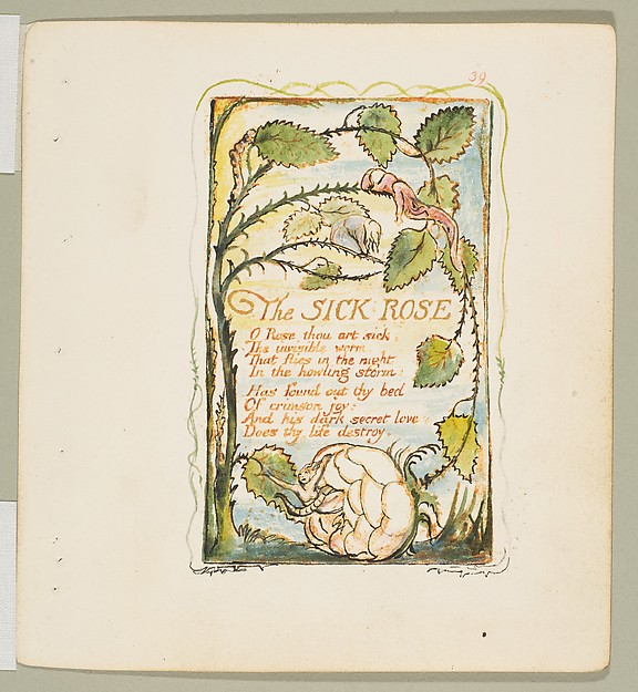 Songs of Innocence and of Experience: The Sick Rose, William Blake (British, London 1757–1827 London), Relief etching printed in orange-brown ink and hand-colored with watercolor and gold