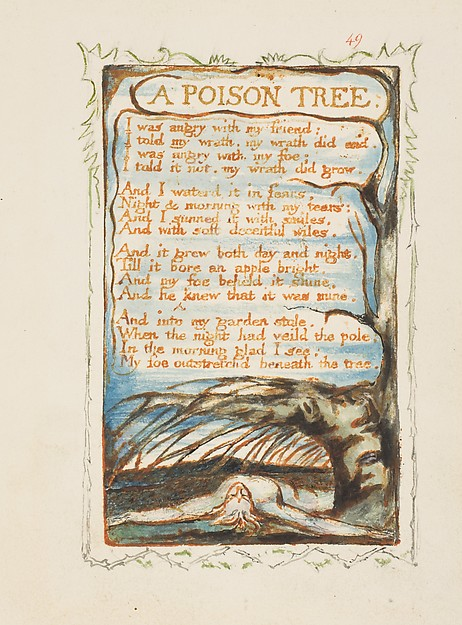 Songs of Innocence and of Experience: A Poison Tree, William Blake (British, London 1757–1827 London), Relief etching printed in orange-brown ink and hand-colored with watercolor and gold