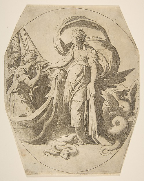 Circe and the Companions of Ulysses, Giulio Bonasone (Italian, active Rome and Bologna, 1531–after 1576), Etching with engraving