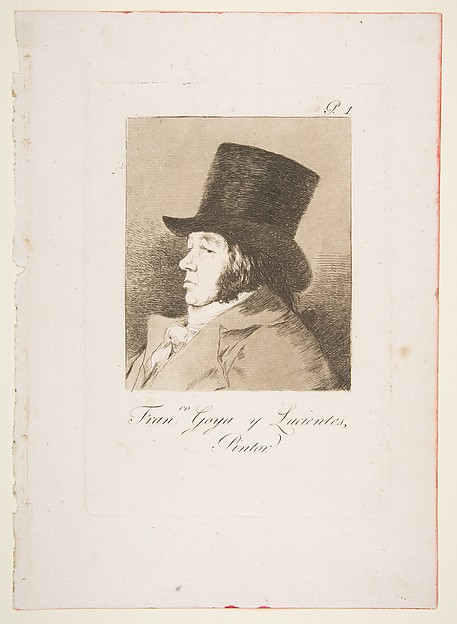 Plate 1 from 'Los Caprichos': Self-portrait of Goya ( Franco. Goya e Lucientes, Pintor), Goya (Francisco de Goya y Lucientes) (Spanish, Fuendetodos 1746–1828 Bordeaux), Etching, aquatint, drypoint and burin