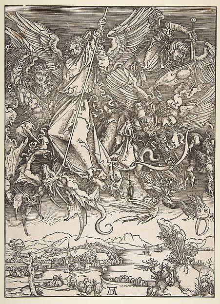 Saint Michael Fighting the Dragon, from The Apocalypse, Albrecht Dürer (German, Nuremberg 1471–1528 Nuremberg), Woodcut