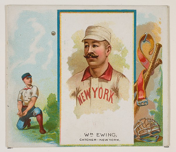 William Ewing, Catcher, New York, from World's Champions, Second Series (N43) for Allen & Ginter Cigarettes, Allen & Ginter (American, Richmond, Virginia), Commercial lithograph