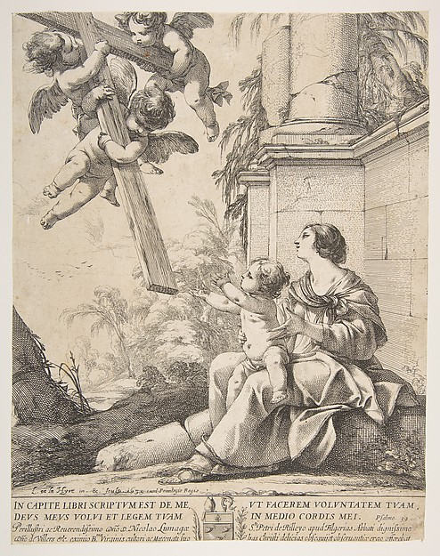 Virgin and Child with Angels, Laurent de La Hyre (French, Paris 1606–1656 Paris), Etching; second state (?) of three (Robert-Dumesnil)