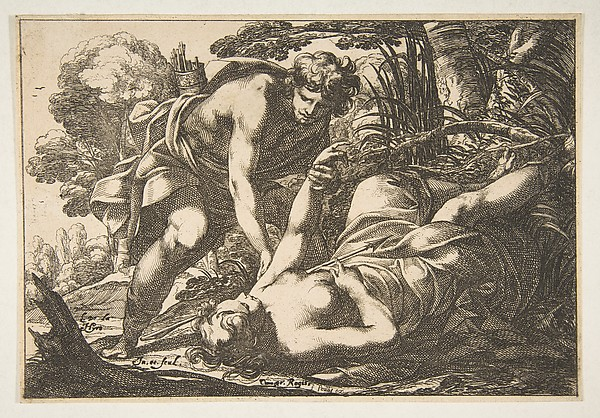 Apollo and Clytie, Laurent de La Hyre (French, Paris 1606–1656 Paris), Etching; second state of two (Robert-Dumesnil)