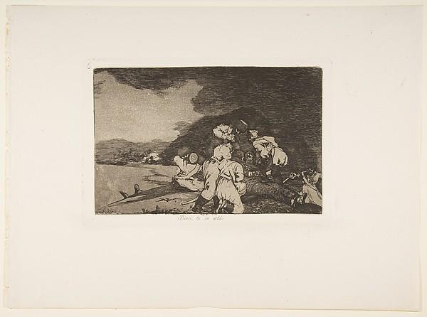 Plate 6 from 'The Disasters of War' (Los Desastres de la Guerra): 'It serves you right.' (Bien te se está.), Goya (Francisco de Goya y Lucientes) (Spanish, Fuendetodos 1746–1828 Bordeaux), Etching, lavis and burin