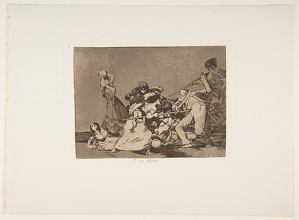 Plate 5 from 'The Disasters of War' (Los Desastres de la Guerra): 'And they are like wild beasts.' (Y son fieras.), Goya (Francisco de Goya y Lucientes) (Spanish, Fuendetodos 1746–1828 Bordeaux), Etching, burnished aquatint and drypoint