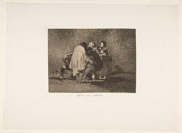 Plate 53  from 'The Disasters of War' (Los Desastres de la Guerra): 'There was nothing to be done and he died.' (Espiró sin remedio.), Goya (Francisco de Goya y Lucientes) (Spanish, Fuendetodos 1746–1828 Bordeaux), Etching, burnished aquatint, lavis, burin, and burnisher