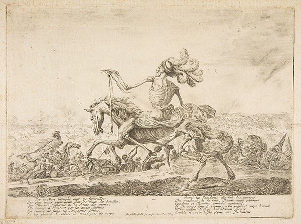 Death on a Battlefield, from 'The five deaths' (Les cinq Morts), Etched by Stefano della Bella (Italian, Florence 1610–1664 Florence), Etching, third state of four