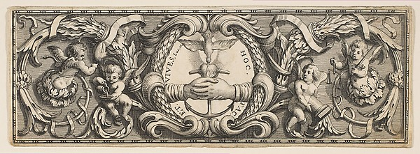 Frieze of Ornament with Clasped Hands and Anchor, Abraham Bosse (French, Tours 1602/1604–1676 Paris), Etching