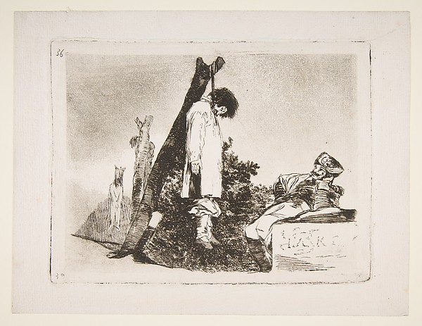 Plate 36 from 'The Disasters of War' (Los Desastres de La Guerra): 'Not [in this case] either.' (Tampoco.), Goya (Francisco de Goya y Lucientes) (Spanish, Fuendetodos 1746–1828 Bordeaux), Etching, burnished aquatint, drypoint, burin, and burnisher