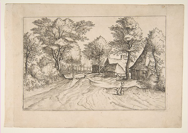 Village Road with a Farm and Sheds, from the series, The Small Landscapes (Multifariarum Casularum), Johannes van Doetecum the elder (Netherlandish, active 1554–ca. 1600, died 1605), Etching; first state of four