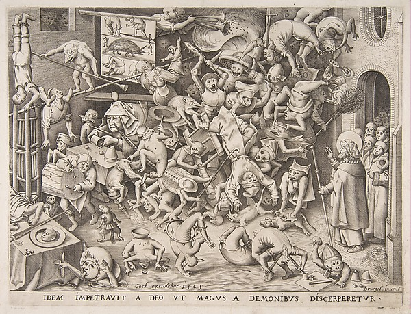 The Fall of the Magician, Pieter van der Heyden (Netherlandish, ca. 1525–1569), Engraving; first state of five
