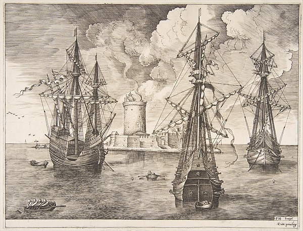 Four-master and Two Three-masters Anchored near a Fortified Island from The Sailing Vessels, Pieter Bruegel the Elder (Netherlandish, Breda (?) ca. 1525–1569 Brussels), Engraving and etching; first state of three