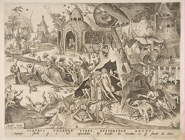 Lust (Luxuria) from The Seven Deadly Sins, Pieter van der Heyden (Netherlandish, ca. 1525–1569), Engraving