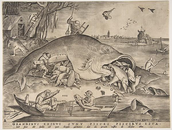 Big Fish Eat Little Fish, Pieter van der Heyden (Netherlandish, ca. 1525–1569), Engraving; first state of four