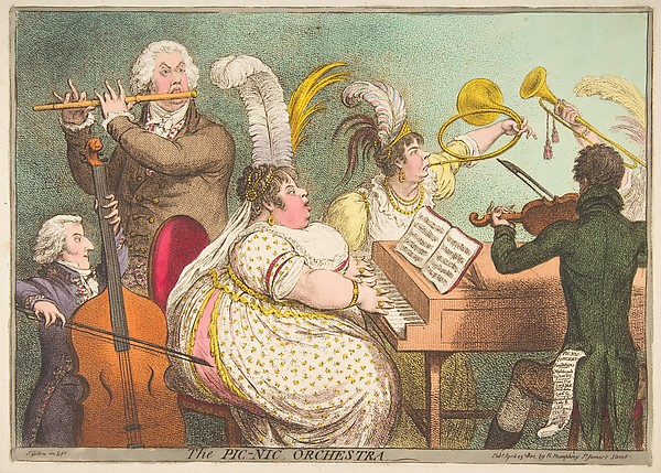 The Pic-Nic Orchestra, James Gillray (British, Chelsea 1756–1815 London), Hand-colored etching and engraving