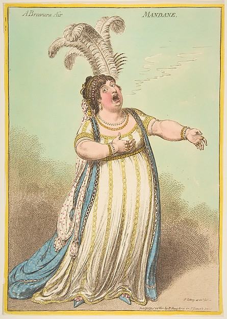 A Bravura Air. Mandane, James Gillray (British, Chelsea 1756–1815 London), Hand-colored etching