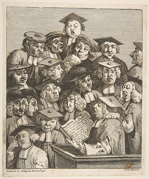 Scholars at a Lecture, William Hogarth (British, London 1697–1764 London), Etching and engraving; second state of two