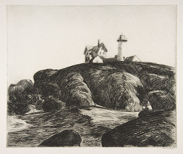 The Lighthouse, Edward Hopper (American, Nyack, New York 1882–1967 New York), Etching