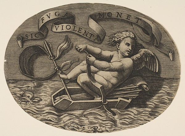 Eros escaping by sea using his bow to propel a boat made from his quiver with an arrow as the mast and his blindfold as the sail, a banderole above, Marco Dente (Italian, Ravenna, active by 1515–died 1527 Rome), Engraving
