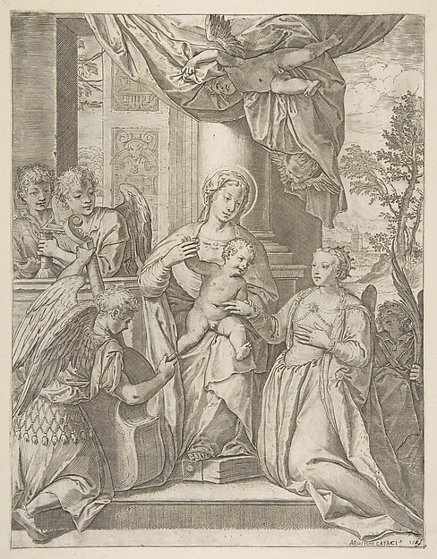The mystic marriage of Saint Catherine who sits at center with the Christ child, angels with instruments at the left, Agostino Carracci (Italian, Bologna 1557–1602 Parma), Engraving