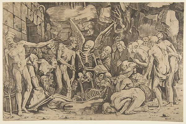 A group of emaciated men and women gathered around a skeleton laid on the ground and a figure of Death as a winged skeleton standing above it holding an open book, Marco Dente (Italian, Ravenna, active by 1515–died 1527 Rome), Engraving