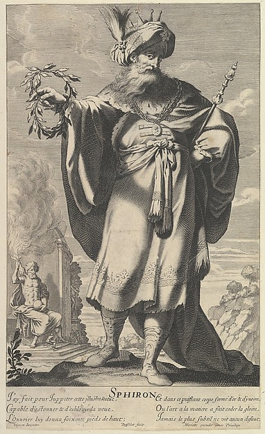 Sphiron, Gilles Rousselet (French, Paris 1614–1686 Paris), Engraving (figure by Rousselet) and etching (background by Bosse)
