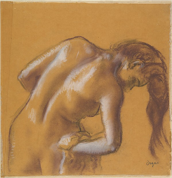 Bather Drying Herself, Edgar Degas (French, Paris 1834–1917 Paris), Charcoal and pastel, heightened with white chalk, on tracing paper (mounted on cardboard)