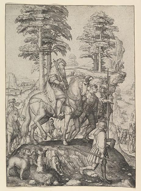 Abigail Before David, Lucas van Leyden (Netherlandish, Leiden ca. 1494–1533 Leiden), Engraving; second state