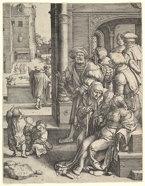 The Poet Virgil in a Basket, Lucas van Leyden (Netherlandish, Leiden ca. 1494–1533 Leiden), Engraving; first state