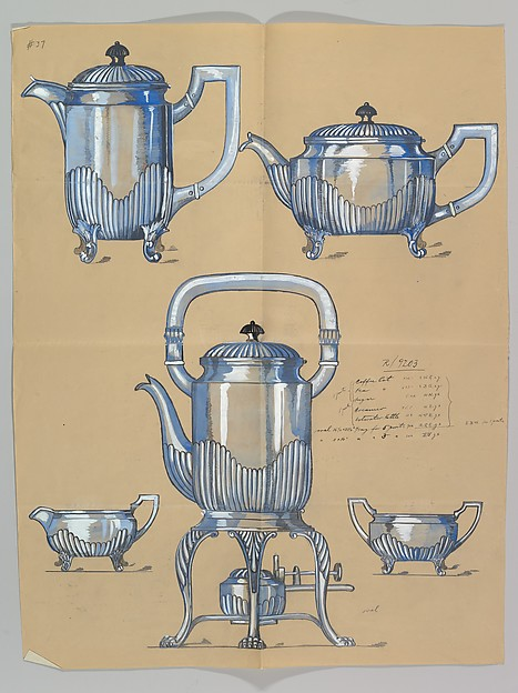 Design for a Silver Coffee and Tea Service, Anonymous, Czech, early 20th century, Ink and gouache on yellow beige paper