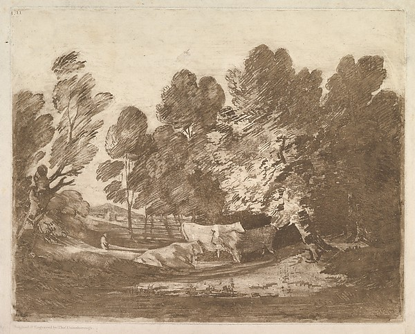 Wooded Landscape with Herdsmen and Cows, Thomas Gainsborough (British, Sudbury 1727–1788 London), Aquatint (sugar-lift process), printed in brown ink
