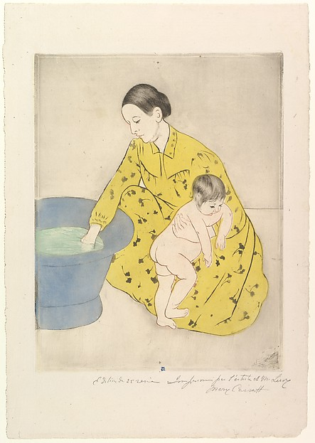 The Bath, Mary Cassatt (American, Pittsburgh, Pennsylvania 1844–1926 Le Mesnil-Théribus, Oise), Drypoint, soft-ground etching and aquatint, printed in color from two plates; seventeenth state of seventeen (Mathews & Shapiro)