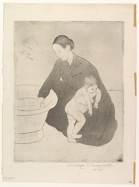 The Bath, Mary Cassatt (American, Pittsburgh, Pennsylvania 1844–1926 Le Mesnil-Théribus, Oise), Drypoint, soft-ground etching and aquatint, printed in black ink from one plate; fifth state of seventeen (Mathews & Shapiro)
