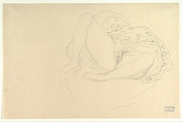 Reclining Nude with Drapery, Gustav Klimt (Austrian, Baumgarten 1862–1918 Vienna), Graphite