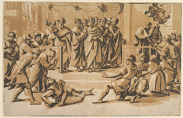 The death of Ananias, surrounded by Apostles, Ugo da Carpi (Italian, Carpi ca. 1480–1532 Bologna), Chiaroscuro woodcut from three blocks in brown