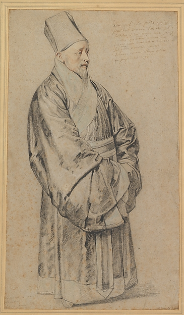 Portrait of Nicolas Trigault in Chinese Costume, Peter Paul Rubens (Flemish, Siegen 1577–1640 Antwerp), Black, red, and white chalk, blue pastel, and pen and brown and black ink on light brown laid paper