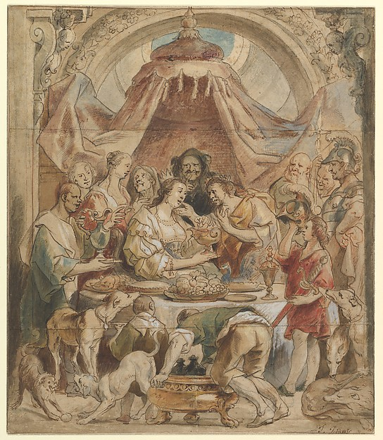 The Banquet of Anthony and Cleopatra, Jacob Jordaens (Flemish, Antwerp 1593–1678 Antwerp), Pen and brown ink, watercolor with white gouache over black chalk