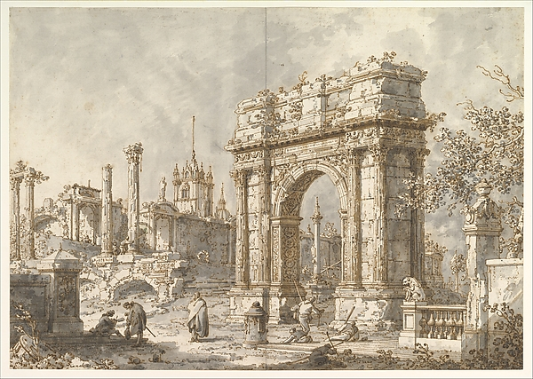 Capriccio with a Roman Triumphal Arch, Canaletto (Giovanni Antonio Canal) (Italian, Venice 1697–1768 Venice), Pen and brown ink, brush and gray wash, over traces of leadpoint or graphite