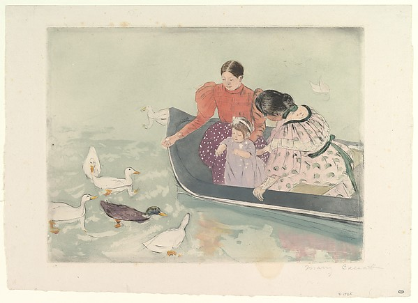 Feeding the Ducks, Mary Cassatt (American, Pittsburgh, Pennsylvania 1844–1926 Le Mesnil-Théribus, Oise), Drypoint, softground etching, and aquatint, printed in color from three plates; fourth state of four (Mathews & Shapiro)