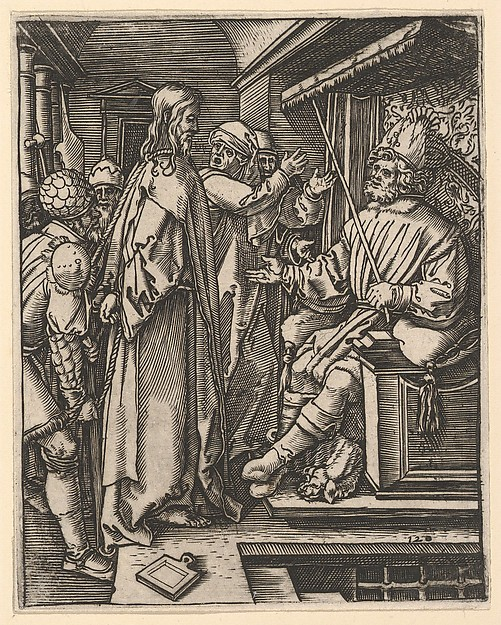 Christ standing, hands tied behind back, before Herod seated on throne, after Dürer, Marcantonio Raimondi (Italian, Argini (?) ca. 1480–before 1534 Bologna (?)), Engraving; second state of three