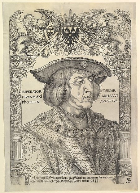 Portrait of the Emperor Maximilian I in an Architectural Frame (copy), Hans Weiditz the Younger (German, Freiburg im Breisgau before 1500–ca. 1536 Strasbourg), Woodcut