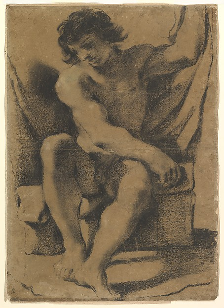Seated Nude Young Man in Nearly Frontal View, Guercino (Giovanni Francesco Barbieri) (Italian, Cento 1591–1666 Bologna), Modified black chalk (dipped in a gum solution), traces of white gouache highlights, on light brown paper.