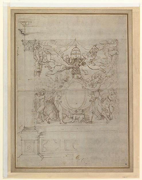 A Tabernacle Containing a Papal Escutcheon Supported by Angels, Giulio Romano (Italian, Rome 1499?–1546 Mantua), Pen and brown ink, over traces of leadpoint or soft black chalk and stylus-ruling