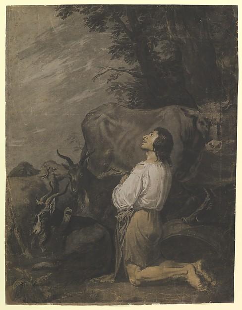 The Prodigal Son, imitator of Salvator Rosa (Italian, Arenella (Naples) 1615–1673 Rome), Gray, black and brown wash, black and white chalk