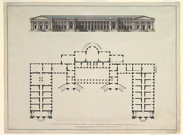 Giacomo Quarenghi North Elevation And Ground Plan Of The - Ground elevation
